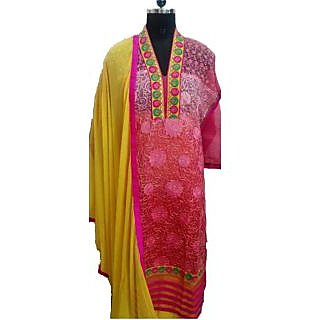 Women's Grace Pink And Yellow Georgette Dress Material