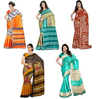 Inddus Exclusive Combo Of 5 Printed Fashion Sarees