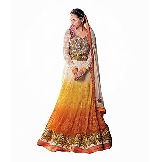 FabPandora Exclusive Fancy Designer Multi Embroidered & Georgette Anarkali Dress