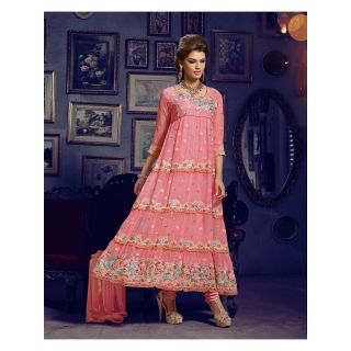 Georgette Thread Work Light Pink Semi Stitched Long Anarkali Suit (STY-146-1003)