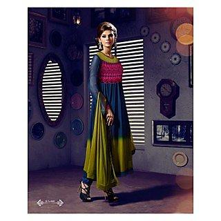 Georgette Thread Work Blue Semi Stitched Long Anarkali Suit (STY-146-1009)