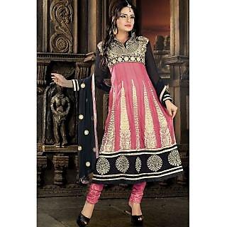 Georgette Thread Work Pink Semi Stitched Long Anarkali Suit (STY-146-2001 B)