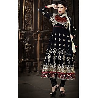 Georgette Thread Work Black Semi Stitched Long Anarkali Suit (STY-146-2002 B)