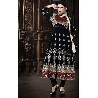Georgette Thread Work Black Semi Stitched Long Anarkali Suit (STY-146-2002 B)