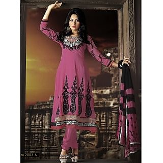 Georgette Thread Work Pink Semi Stitched Long Anarkali Suit (STY-146-2003 A)