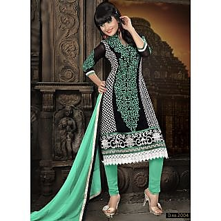 Georgette Thread Work Light Green  Semi Stitched Long Anarkali Suit (STY-146-2004 A)