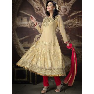 Georgette Thread Work Red Semi Stitched Long Anarkali Suit (STY-146-2005 B)