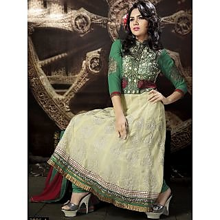 Georgette Thread Work Cream Semi Stitched Long Anarkali Suit (STY-146-2006 A)