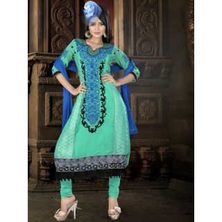 Georgette Thread Work Light Blue Semi Stitched Long Anarkali Suit (STY-146-2007 A)