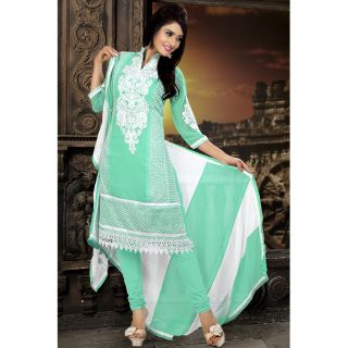Georgette Thread Work White Semi Stitched Long Anarkali Suit (STY-146-2008 B)