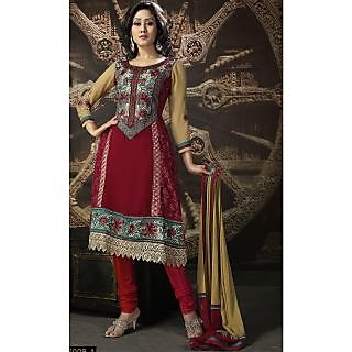 Georgette Thread Work Red Semi Stitched Long Anarkali Suit (STY-146-2009 A)