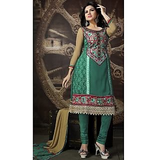 Georgette Thread Work Green Semi Stitched Long Anarkali Suit (STY-146-2009 B)
