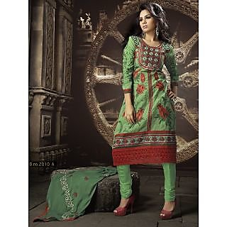 Georgette Thread Work Light Green Semi Stitched Long Anarkali Suit (STY-146-2010 A)