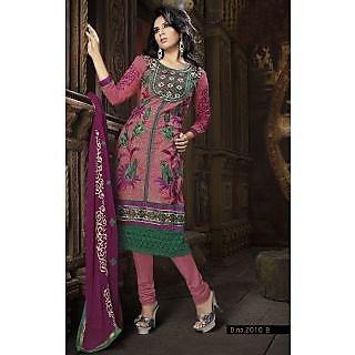 Georgette Thread Work Pink Semi Stitched Long Anarkali Suit (STY-146-2010 B)