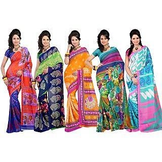 Carah Exclusive Pack Of 5 Georgette Saree CRH-N273