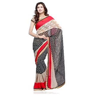 Fabdeal Red Colored Chiffon Printed Saree