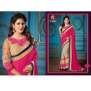 INDIAN DESIGNER BOLLYWOOD REPLICA ACTRESS PINK & CHIKOO BRIDAL WEDDING SAREE