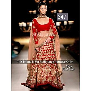 Bollywood Replica Sarees Aliya Red Craft