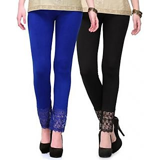 Plazo Lace Leggings Combo Blue N Black From Entice Fashions
