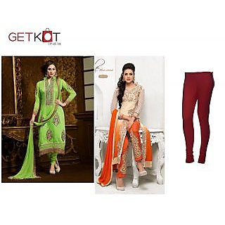 Combo Offer Designer Long Suit-party Wear Anarkali Suit-red Cotton Legging