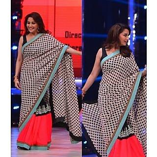 Madhuri Red & Black Polka Saree