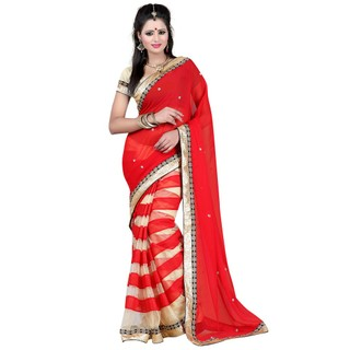 Tiana Splendid Red Colour Semi Chiffon Embroidered Saree