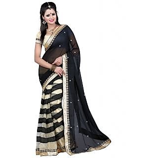 Tiana Stunning Black Colour Chiffon Saree