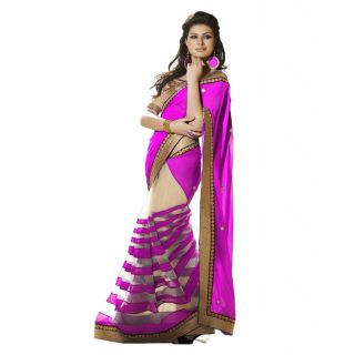 Tiana Majestic Magenta Colour Embroidered Semi Chiffon Saree