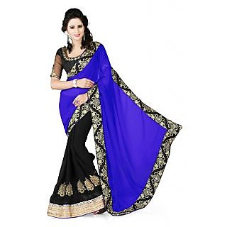 Tiana  Blue Embroidered Georgette Saree