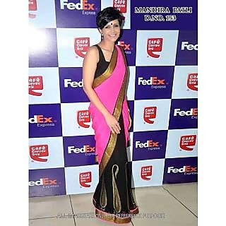 Mandira Bedi Pink And Black Bollywood Style Saree