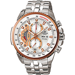 CASIO EDIFICE EF558D-7AV WHITE DIAL SPORTS CHRONOGRAPH MENS WRIST WATCH