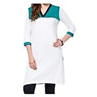Turquoise With White Knitted Cotton Kurti