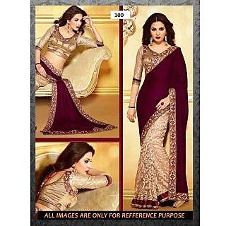 Designer Cream And Maroon Jacquard Velvet Fabric Saree