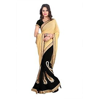 Mandira Bedi Beige Black Color Designer Saree