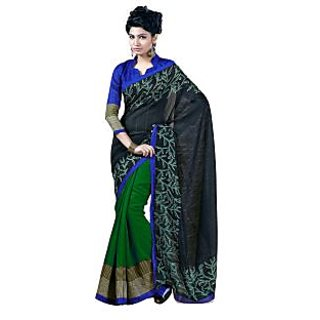 Fabdeal Black & Green Colored Chhapa Silk Printed Saree