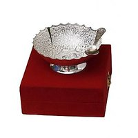 Silver Plated Dry Fruit Bowl Set With Spoon In Box
