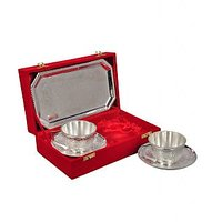 Silver Plated Serving Tea Cup With Saucer With Tray