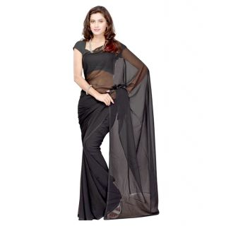 FabPandora Exclusive Fancy Designer Plain Solid Black Faux Georgette Saree