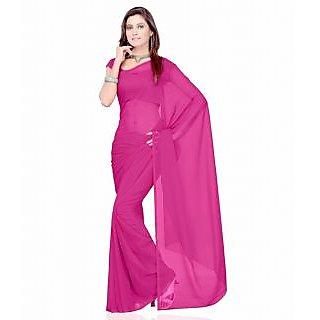 FabPandora Exclusive Fancy Designer Plain Solid Pink Faux Georgette Saree
