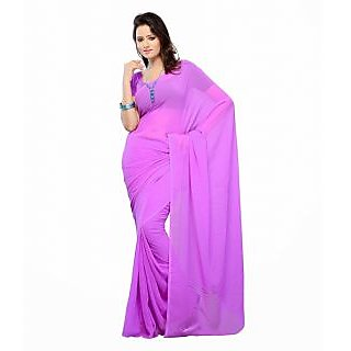 FabPandora Exclusive Fancy  Designer Plain Light Purple Faux Georgette Saree