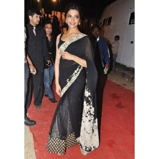Deepika Padukone Black Beauty Saree