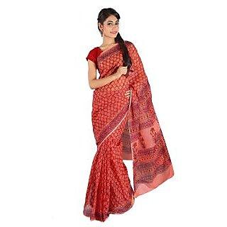 All Over Floral Pattern Ethnic Red Kota Doria Sari 232