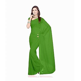 FabPandora Exclusive Fancy Designer Plain Parrot Green Faux Georgette Saree