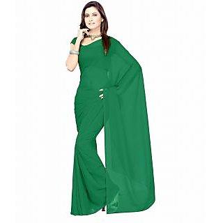FabPandora Exclusive Fancy Designer Plain Rama Green Faux Georgette Saree