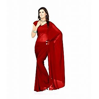 FabPandora Exclusive Fancy  Designer Plain Solid Red Faux Georgette Saree