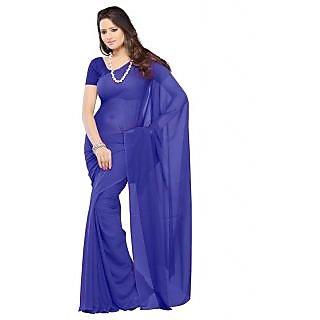 FabPandora Exclusive Fancy  Designer Plain Royal Blue Faux Georgette Saree