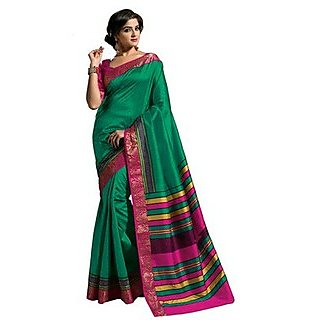 Raw Silk Saree In Green With Pink Border. Muhenera 2401