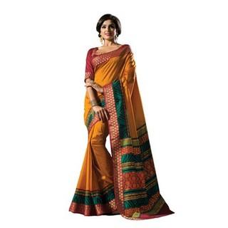 Raw Silk Saree In Yellow With Red Border. Muhenera 2402