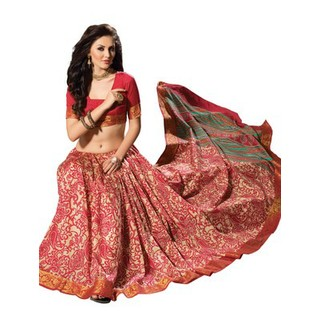 Raw Silk Saree In Cream With All Over Red Prints. Muhenera 2403