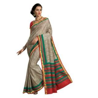 Silver Printed Brown Raw Silk Saree With Striped Border . Muhenera 2405